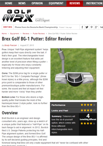GolfWRX review of Brex Golf Model BG-1 Putter August 27, 2013