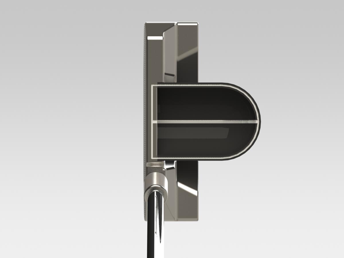 BG-1 full straight hosel black half-pipe top view